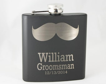 Custom Engraved Black Stainless Steel Mustache Flask Great Groomsman Fathersday Birthday or General Mens Gift