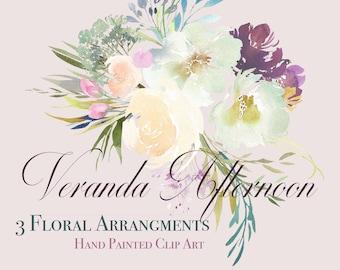Hand Painted Watercolour Floral Arrangements - Veranda Afternoon