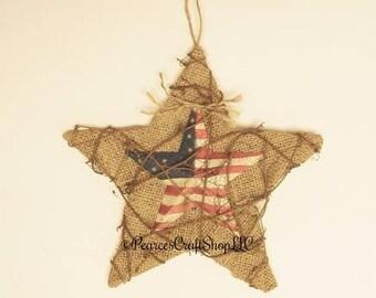 Burlap Star Ornament, Decorative Stars, Americana Stars, Primitive Stars, Burlap Stars, Patriotic Stars, Primitive Americana Decor