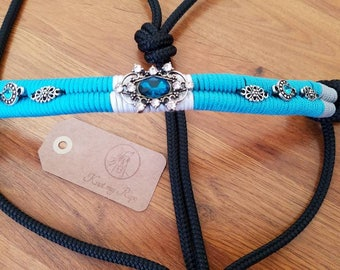 SALE Show rope halter, neon turquoise, white and silver-gray, black rope, horse tack, show equipment
