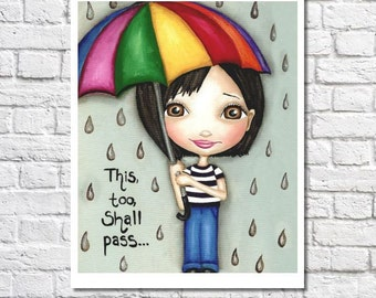 This Too Shall Pass pluie impression Art jour pluvieux Print encourageant devis grands yeux Cheer cadeau motivation mur parapluie d'Art Decor Bureau art