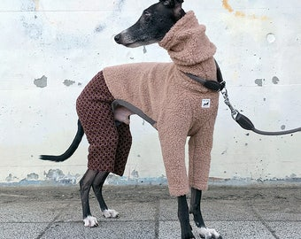 Italian Greyhound Clothing, Granny Style Boa Wool Knit Jammies,Jumpsuit,Romper,Onesie [Cinnamon/Purple]