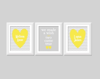 """Twin Quote Wall Art Set of 3, """"We Made a Wish and Two Came True"""", Boy Girl Twin Nursery Decor, Twin Nursery Art, Twin Nursery Decor, Hearts"""