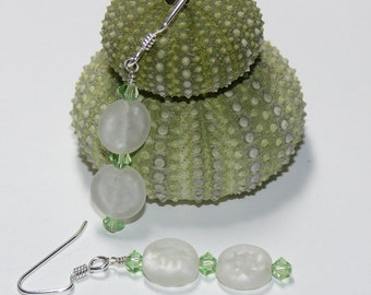 Cool Mint Green Swarovski & Frosted White Disk Sterling Silver Dangle Handmade Earrings
