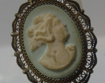Vintage Silver Filigree Pendant with a 40mm Delicate Dreamy Blue Cameo (Wedgewood Maybe) signed NAME Italy (66.002)