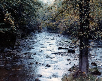 Art Photograph of a river in the Fall 24 X 36 digitally altered to give the appearance of a watercolor painting