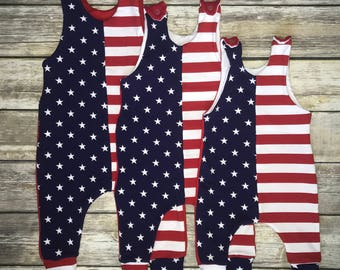 4th of july harem overall romper