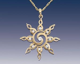 Sun Pendant Necklace - Spiral Sun - 14K Yellow Gold Sun with Diamonds - Sun Jewelry - Sky Jewelry - Spiral Sun Jewelry - Gold Sun Jewelry