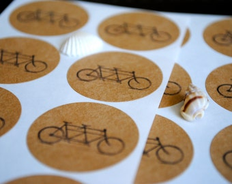 60 Handmade Tandem Bicycle kraft or white round labels/seals