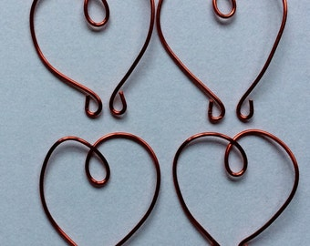 WIRE HEARTS - Pack x 10 - RED