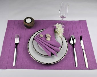Purple violet lilac placemats napkins purple large fabric placemats wedding dinner placemats modern table setting linen serving serviette & Purple placemats | Etsy