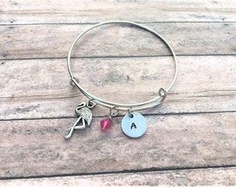 Flamingo Jewelry - Flamingo Gift - Flamingo Bracelet - Initial Bracelet - Personalized Flamingo Bracelet- Personalized Gift - Custom Jewelry