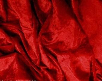 Red Velvet Crushed Velvet Fabric Craft Stretch Velour 150 cm Wide