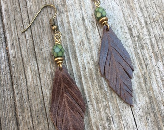 Leather Feather Earring with Faceted Green Bead and Brass