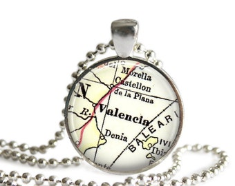 Valencia Spain map necklace pendant charm: Europe map necklace, map jewelry charms, Spanish jewelry, Christmas Gift, Mother Gift, A286