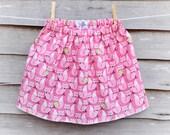 Pink Fox Skirt - Girls Outfit - Girls Skirt - Handmade Clothing - Cotton -Toddler Skirt - Winter Skirt - Pink Skirt - Age 2-3 - Xmas Outfit