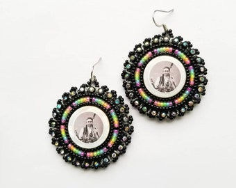 Chief Joseph Earrings Black & Neon