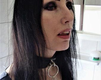 PU Leather Choker Vampire Ankh - Choker Vampire Ankh Gothic  occult sm goth gothic steel ring pu leather vegan bondage bdsm fetish