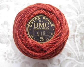 DMC Pearl Cotton Balls Size 5 - 919 Red Copper