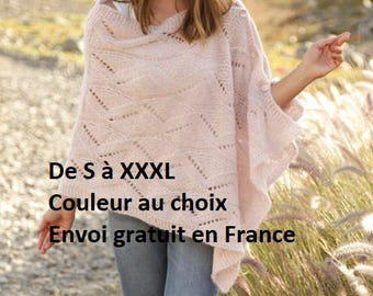 Poncho, alpaca and silk knitted hand, mother of Pearl buttons, point openwork women spring summer shawl, stole, beige, pink, gift