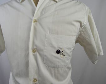 Vintage 1960s White Loop Collar Shirt w/Bowling Ball and Pin Embroidery by Brent Size Medium