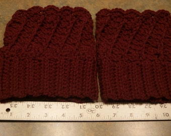 Red wine colored boot cuffs, Done in Twist and Shout crochet pattern. Super warm!