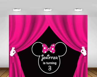 Printable Minnie Mouse Backdrop, Pink, Minnie Mouse Party, Birthday Party , 1st Birthday, Baby Shower, Backdrop, Poster, Sign, Banner