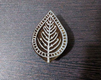 Leaf Wood Stamp For Block Printing - Clay Stamping - Fabric Printing Stamp - Wodden Tjap For Printing