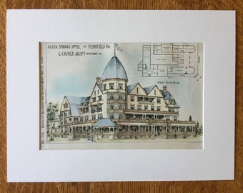 Alicia Springs Hotel, Pennfield, Pennsylvania, 1890, E Cluver, Architects. Hand Colored, Original Plan, Architecture, Vintage, Antique