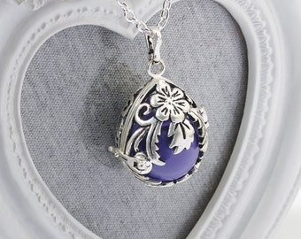 Harmony Cage VICTORIA with Purple Bola Ball Pendant & Necklace - Angel Caller Mexican Angel Caller Mum to Be