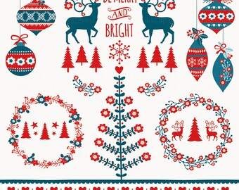 Nordic Christmas Clipart. Vector Christmas Clipart. Christmas frames, christmas deer. 17 images, 300 dpi. Eps, Png files. Instant Download.
