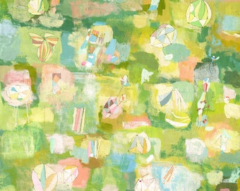 spring flowers art print - patone colors 2017 green abstract print floral pink print colorful flower print large green giclee print fine art