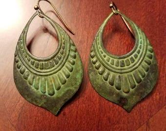 Verdigris Earrings, Verdigris Patina, Bohemian Earrings, Patina Brass Jewelry, Boho Earrings, dangle earrings, drop earrings