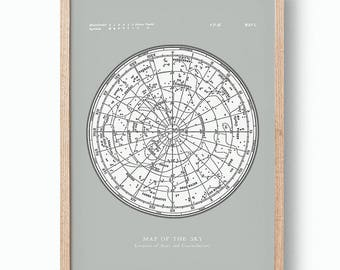 Star Map Constellations Poster. Map of the Sky. Modern Vintage Astronomy Print. Grey Celestial Map. Gallery Wall Art.
