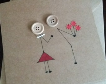 love card- anniversary- romantic - birthday - hand drawn- greetings- girlfriend- wife-boyfriend- husband