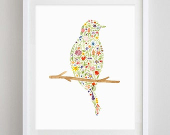 Bird Floral Watercolor Print