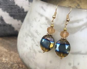 Gold and Brownish Glass Bead Handmade Earrings