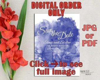 Digital Invite -Watercolor save the date announcement, Spring summer wedding invite, Watercolor save the date invite, Printable DIY
