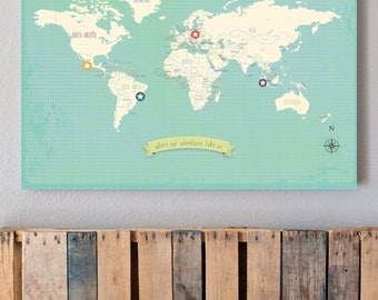 World Wall Map, My Travels Personalized World Map on Gallery Wrapped Canvas, 24x18 or 36x24, Gender Neutral Nursery Wall