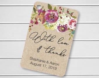Penelope - With Love and Thanks Wedding Favor Tags, Custom Wedding Tags, Custom Wedding Hang Tags  (RR-379-019-KR)