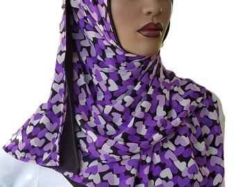 D'ble Hijab Scarf™ Attached Scarves Hijab Chiffon Purple Hearts Duo Scarfs Hijabi Style Designer Hijab Scarves Rectangle Hijab Handmade