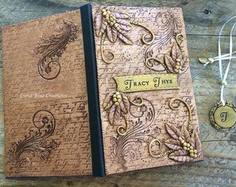 Personalized journal, polymer clay journal, personalized diary, custom journal, personalized sketchbook, custom sketchbook, custom notebook