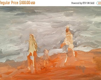 """ON SALE Abstract seascape, expressionist, original art, fine art, 5x7 inches on 1/8"""" gessobord , modern impressionist, #gift"""