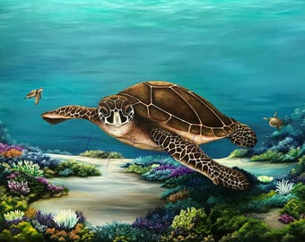Original Oil Painting of Loggerhead turtles roaming the coral reef