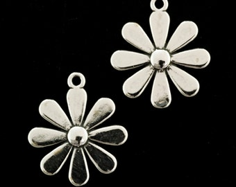 1 Sterling Silver Daisy Charm - 17mm X 15mm Jump Ring Included
