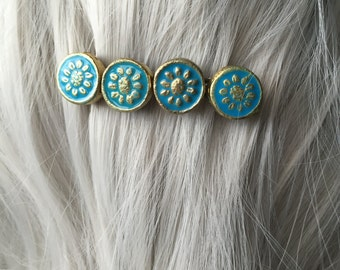 Aqua Hair Clips Barrettes - Hair Clips for Thin Hair  - Flower Hair Clip - Hair Clips Women - Hair Clips for Women