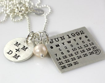 Mark Your Calendar Necklace with You plus Me Charm - personalized sterling silver necklace with pearl