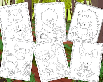 Woodland Friends Coloring Pages - The Crayon Crowd, printable, party, party favors, Coloring book, Sheets, kids, pdf, forest, animals, cute