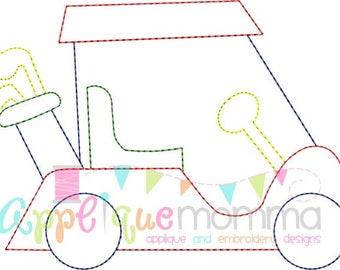 Vintage Golf Cart Embroidery Design