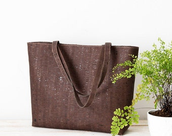 Vegan bag, cork bag, cork tote bag, cork shopper bag, vegan tote bag, vegan shopper, dark cork leather, vegan leather